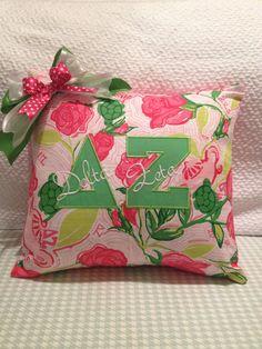 Delta Zeta Lilly Pulitzer Sorority fabric pillow cover.