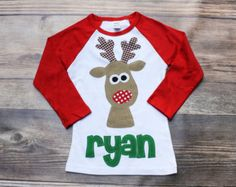 Christmas Shirt Reindeer Applique Shirt You by roundthebendagain