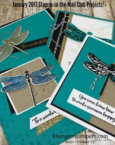 """Dragonfly Dreams will be featured in January 2017 in my online card club.  Super """"on trend"""" stamp set.  Free Card Kit with purchase or when you join the best card kit club there is!"""