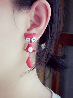 Handmade Polymer Two-part Fox Earrings from Noirlu