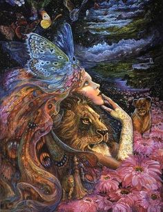 "The air is like a butterfly  With frail blue wings.  The happy earth looks at the sky  And sings.""- Joyce Kilmer, Spring  Artist~ Josephine Wall"