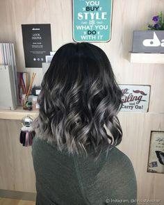 charcoal to silver balayage hair   hair   Pinterest ...