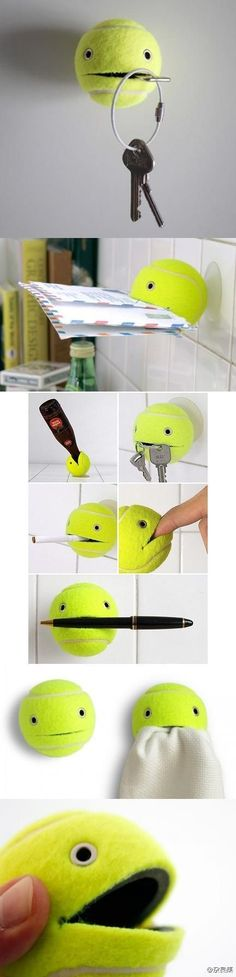 Cute & Clever. Tennis Ball Helper by duitang.com and upcyclethat.com: (Cut a slit in a tennis ball using a box cutter or sharp knife. Add rivets or google eyes. Hang him on the wall by a nail or suction cup in the back of his 'head'.)
