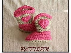 "PDF Cowboy Boots PATTERN -  Girl Cowboy Boot Pattern - Crochet Sweetheart Baby Cowboy ""Boot""ies- Crochet Booties Pattern - by JoJosBootique on Etsy, $5.75"