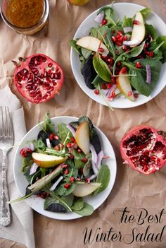 This simple Winter Salad of Baby winter greens, red onion, pomegranate seeds and Seckel pear slices in a simple Apple Cider Vinaigrette deliver visual appeal, flavor, texture and great nutrition too! Great healthy New Year recipes too.