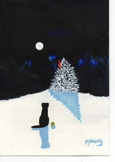 I love Todd's Paintings.  Black Lab Dog Winter abstract original Folk art by ToddYoungArt, $34.95