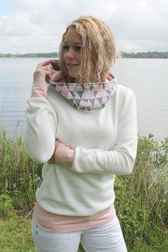 Hoodies - Hoodie Pullover BJÖRK creme pastell rosa grau - ein Designerstück von eintraumwerkstadt bei DaWanda