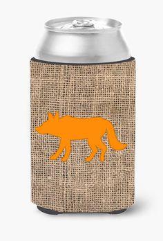 Wolf Burlap and Orange Can or Bottle Beverage Insulator Hugger