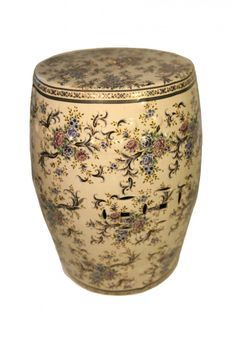 Oriental Garden Stool with Glazed Chinese Flower Painting. asian outdoor stools and benches Garden Seating, Garden Table, Garden Stools, Garden Benches, Asian Garden, Chinese Garden, Outdoor Stools, Chinese Flowers, Oriental Furniture