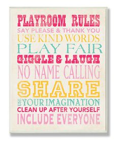 Inspire sweethearts to play nice and stay positive! Excellent for creating a welcoming atmosphere in bedrooms, playrooms and more, this wall plaque provides a few friendly reminders for getting along.