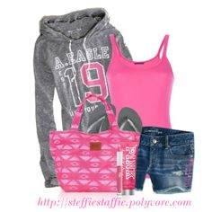 Casual Pink & Gray, created by steffiestaffie on Polyvore