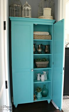 DIY Aqua Storage Cabinet | A Diamond in the Stuff