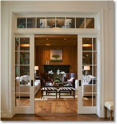We are doing a lot of pocket doors in our house.glass pocket doors would be great for the piano room and Greg's office French Pocket Doors, Glass Pocket Doors, Glass Office Doors, Bifold French Doors, Sliding Pocket Doors, Sweet Home, Transom Windows, Deco Design, My New Room