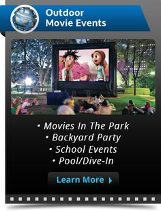 Outdoor movies and inflatable movie screen rentals. FunFlicks is the only nationwide outdoor theater equipment rental company for movies in the park, outdoor cinema events, backyard movies and even drive-in theater events!