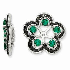 Sterling+Silver+Created+Emerald+Black+Sapphire+Earring+Jackets+QJ141MAY