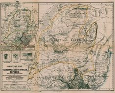 Original Map of the Transvaal or South-African Republic. | Digital Collections at the University of Illinois at Urbana-Champaign Library Africa Map, Topographic Map, Hand Coloring, Illinois, Vintage World Maps, University, Collections, African