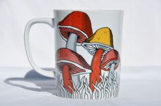 vintage Fitz and Floyd 1979 Variations mushrooms fungi mug psychedelic retro 70  | eBay