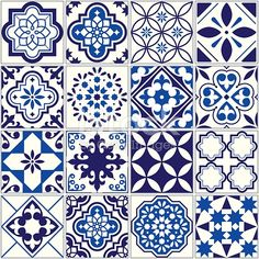 Spanish or Portuguese vector tile pattern, Lisbon floral mosaic, Mediterranean seamless navy blue ornament Ornamental tile background, background inspired by Spanish and Portuguese traditional tiles Buch Design, Tile Design, Pattern Design, Mundo Hippie, Mediterranean Style Homes, Mediterranean Architecture, Tuile, Traditional Tile, Spanish Tile