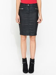 Coated Zip Skirt