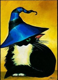Art 'Blue Hat Cat' - by Nico Niemi from ACEO