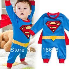 1 PC Baby Boy Superman kid children pajamas Toddler Jumpsuit   babysuit  (4month~24month)  free shipping $11.29