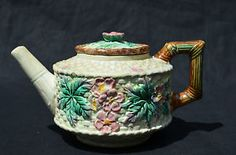 MAJOLICA ANTIQUE TEAPOT WITH LID HAND MADE POTTERY BAMBOO DESIGN