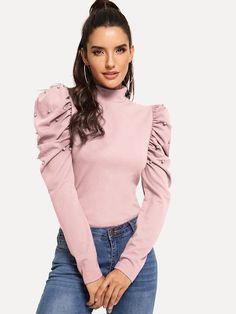 To find out about the Gigot Sleeve Pearl Embellished Solid Top at SHEIN, part of our latest Blouses ready to shop online today! Women's Dresses, Fashion Dresses, Blouse Styles, Blouse Designs, Mode Outfits, Casual Outfits, Look Fashion, Fashion News, Sleeves Designs For Dresses