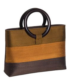 This Brown & Goldenrod Stripe Wooden Handle Silk Tote is perfect! #zulilyfinds