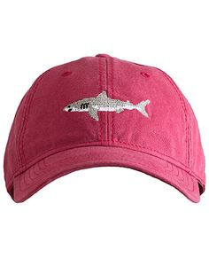 - Needlepoint embroidery of great white shark - 6 panel ball cap - Deep fitting and pre-washed - 100% Cotton - White sailcloth adjustable back strap with brass clasp