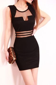 Edgy Black Body Con Dress with Sheer Panels