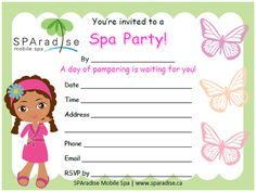 Spa Party Invitation Free Printable - SPAradise Mobile Spa Inc. | Vancouver Premier Mobile Spa