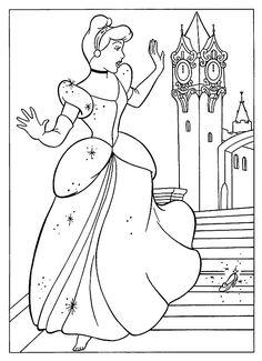 kleurplaat Disney Prinsessen - Assepoester verliest muiltje