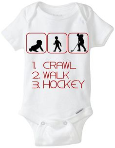 "Hockey Baby Gift Onesie: Great for any new parent who plays or watches Hockey! - ""Crawl Walk Hockey"" Shown in Red, but available in any color! Can be made for boys or girls (ponytail added for girls) - Customize by adding baby's name for $2! Now available in Preemie Sizes!  Available Here: www.etsy.com/shop/LittleFroggySurfShop"