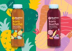 Illustration for a new line of kombucha drinks from BluePrint. The illustrations are based on the ingredients used in each flavour, giving the packaging a fresh and friendly feel. Creative concept and art direction by Bruce Mau Design. The drinks are av… Juice Branding, Juice Packaging, Beverage Packaging, Bottle Packaging, Brand Packaging, Food Packaging Design, Label Design, Web Design, Kombucha Drink