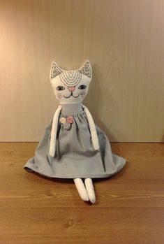 cat stuffed animal cloth cat doll heirloom doll cat toy plush cat custom cat doll soft toy cat rag doll textile doll cat grey girl doll Handmade soft doll cat is made from cotton , stuffed with hypoallergenic, synthetic filling in a smoke free home. Face is hand embroidered . Her