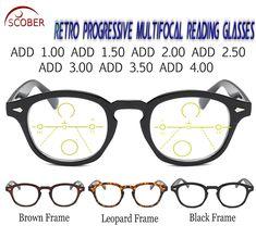 e2bcfdb3d8 SCOBER   Progressive Multifocal Reading Glasses Classic Retro Vintage  Black Brown Eye frame See Near
