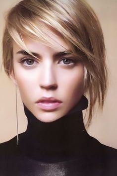 asymmetrical bob- very cute! Love the color