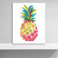 Add a pop of color to your walls with our Happy Pineapple Giclee Canvas Art Print! This cheerful print will make a statement no matter where you hang it. Small Canvas Paintings, Easy Canvas Art, Small Canvas Art, Mini Canvas Art, Cute Paintings, Simple Acrylic Paintings, Acrylic Painting Canvas, Diy Painting, Canvas Art Prints