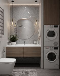 More than just a room, this will be your 5 options of laundry room layout ideas. Transitional, traditional, pet-friendly, and a couple more laundry room design ideas. Laundry Room Layouts, Laundry Room Design, Bathroom Layout, Modern Bathroom Design, Bathroom Interior Design, Bathroom Designs, Laundry Bathroom Combo, Small Bathroom, Small Toilet