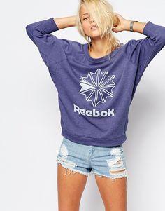 Image 1 ofReebok Batwing Slouchy Sweatshirt With Retro Logo