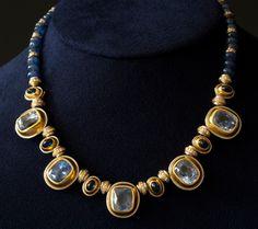 "Hemmerle  Sapphire and Diamond Necklace  sapphires, diamonds, 18k gold, platinum  14.75"" chain"