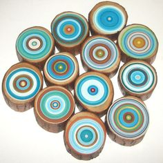 Tree Rings 12  Amazing Colors Abstract by HeatherMontgomeryArt, $145.00