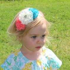 A personal favorite from my Etsy shop https://www.etsy.com/listing/293900385/cream-teal-and-coral-flower-headband