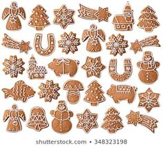Collection Christmas Gingerbread Cookies Isolated On Stock Photo (Edit Now) 348323198 Grinch Christmas Decorations, Cute Christmas Cookies, Xmas Cookies, Christmas Sweets, Christmas Baking, Almond Cookies, Chocolate Cookies, German Christmas, Christmas Gingerbread
