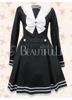 $137.49  Graceful Black And White Cotton Long Sleeves Bow School Lolita Dress  #School #Loltia #Dress