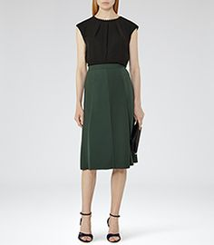 Womens Olive Box-pleat Midi Skirt - Reiss Bevan