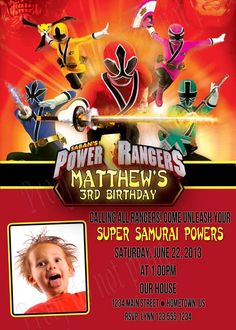 Personalized Power Rangers Samurai Birthday Party Invitations *Need Party Invitations Fast? With our DIY Printing Option, you'll have your files today!*