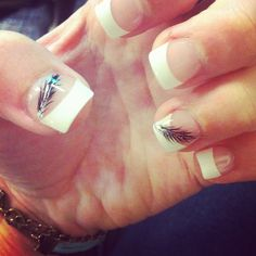 Indian feather French tip nails