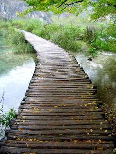 walkway over water . I really love different walkways & pathways! Garden Paths, Garden Bridge, Pond Bridge, Beautiful World, Beautiful Places, Pathways, Stairways, Landscape Architecture, The Great Outdoors