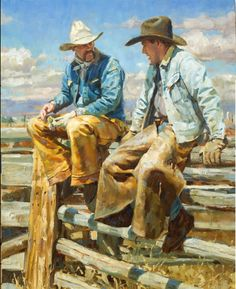 """""""Cowboys"""" by Jason Rich (Cowboy Artist). Yes, there really are real cowboys in Texas! Cow Girl, Cow Boys, Cowboy Horse, West Art, Le Far West, Country Art, Mountain Man, Native American Art, Beautiful Paintings"""